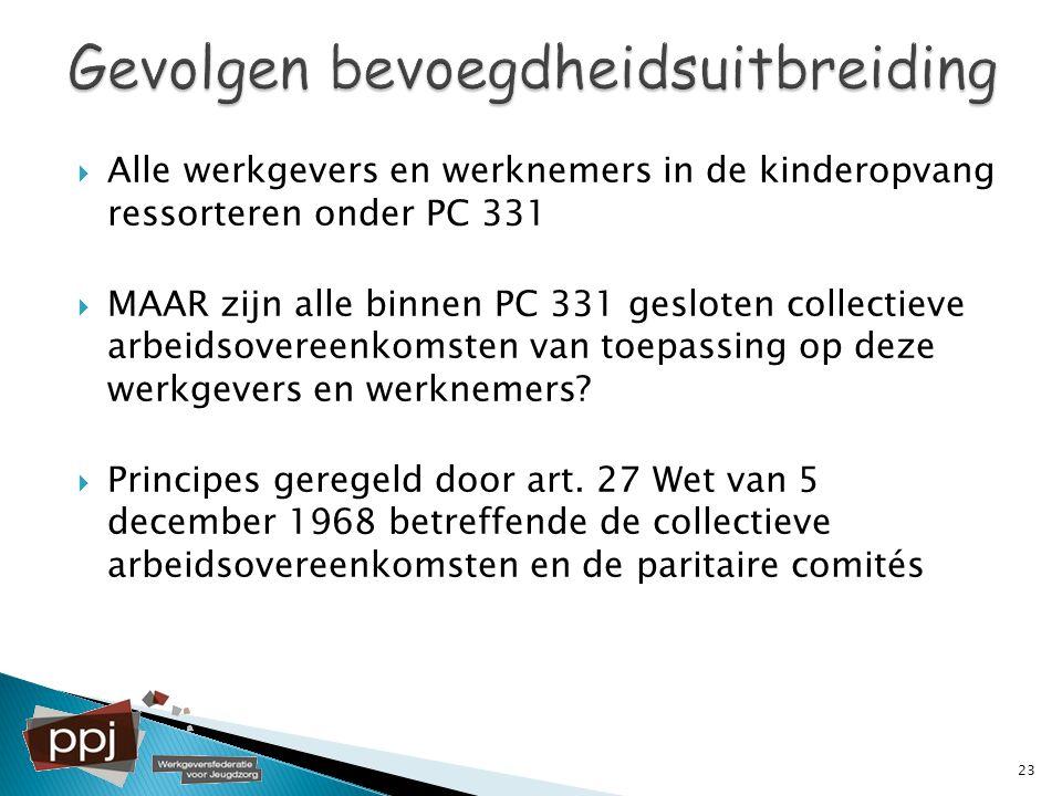  Alle werkgevers en werknemers in de kinderopvang ressorteren onder PC 331  MAAR zijn alle binnen PC 331 gesloten collectieve arbeidsovereenkomsten