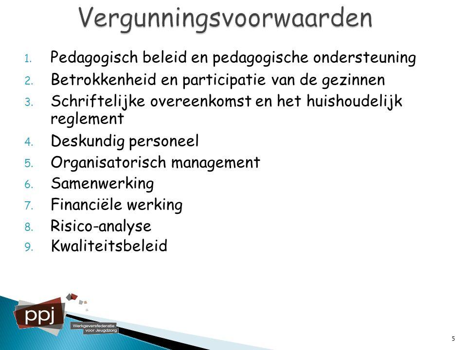 1. Pedagogisch beleid en pedagogische ondersteuning 2. Betrokkenheid en participatie van de gezinnen 3. Schriftelijke overeenkomst en het huishoudelij