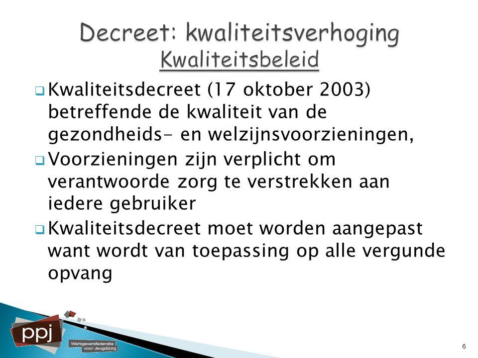  Kwaliteitsdecreet (17 oktober 2003) betreffende de kwaliteit van de gezondheids- en welzijnsvoorzieningen,  Voorzieningen zijn verplicht om verantw