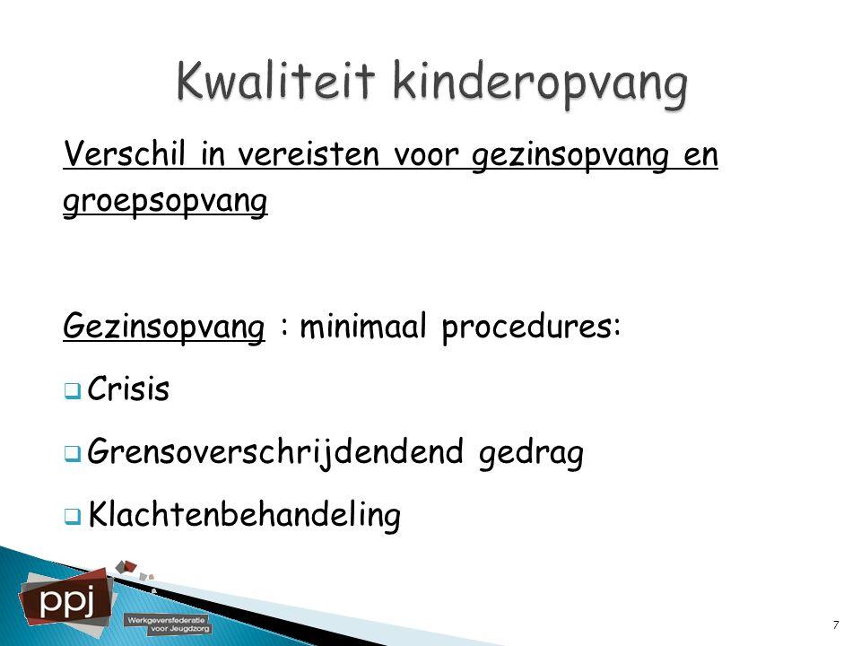Verschil in vereisten voor gezinsopvang en groepsopvang Gezinsopvang : minimaal procedures:  Crisis  Grensoverschrijdendend gedrag  Klachtenbehande