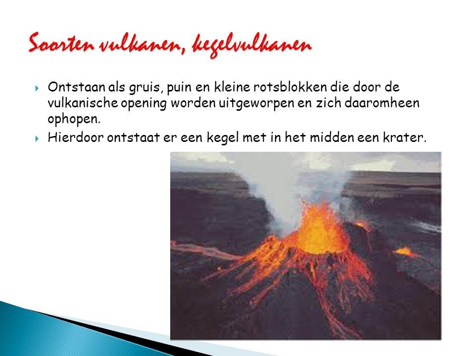  Ontstaan als gruis, puin en kleine rotsblokken die door de vulkanische opening worden uitgeworpen en zich daaromheen ophopen.  Hierdoor ontstaat er