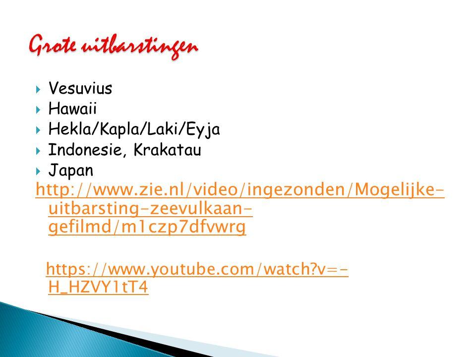  Vesuvius  Hawaii  Hekla/Kapla/Laki/Eyja  Indonesie, Krakatau  Japan http://www.zie.nl/video/ingezonden/Mogelijke- uitbarsting-zeevulkaan- gefilm