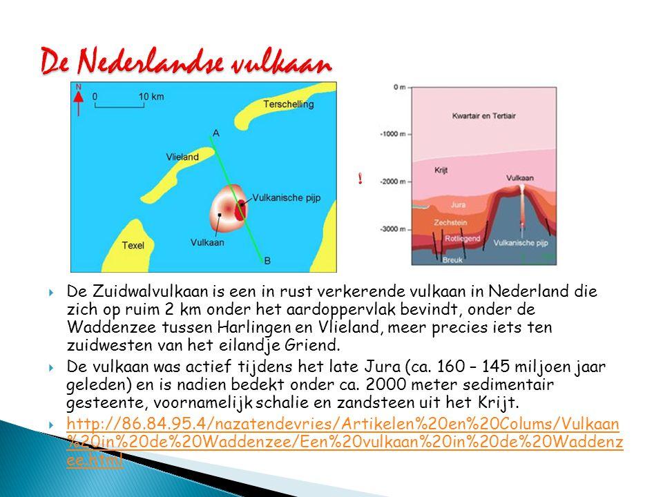  De Zuidwalvulkaan is een in rust verkerende vulkaan in Nederland die zich op ruim 2 km onder het aardoppervlak bevindt, onder de Waddenzee tussen Ha
