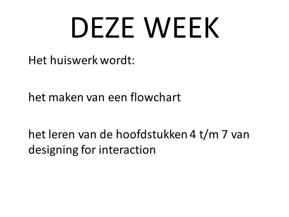 DEZE WEEK Het huiswerk wordt: het maken van een flowchart het leren van de hoofdstukken 4 t/m 7 van designing for interaction