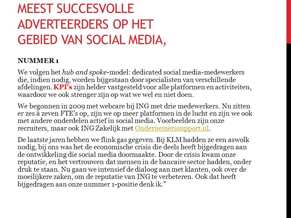 MEEST SUCCESVOLLE ADVERTEERDERS OP HET GEBIED VAN SOCIAL MEDIA, NUMMER 1 We volgen het hub and spoke-model: dedicated social media-medewerkers die, in