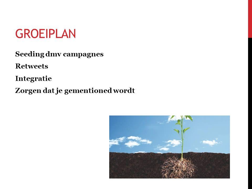 GROEIPLAN Seeding dmv campagnes Retweets Integratie Zorgen dat je gementioned wordt