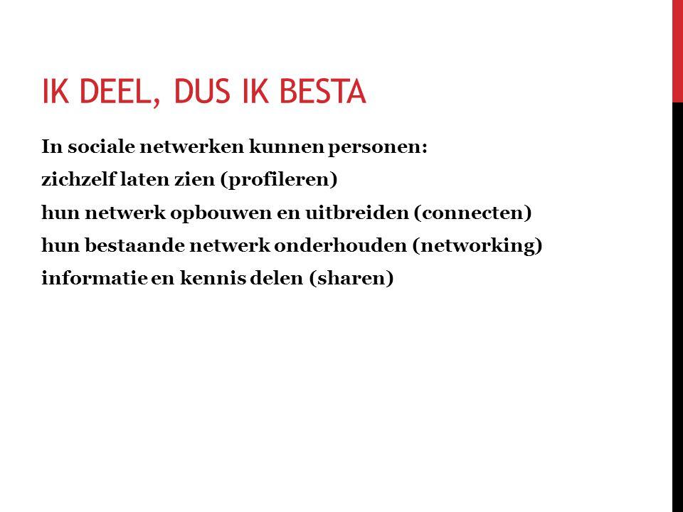 In sociale netwerken kunnen personen: zichzelf laten zien (profileren) hun netwerk opbouwen en uitbreiden (connecten) hun bestaande netwerk onderhouden (networking) informatie en kennis delen (sharen) IK DEEL, DUS IK BESTA
