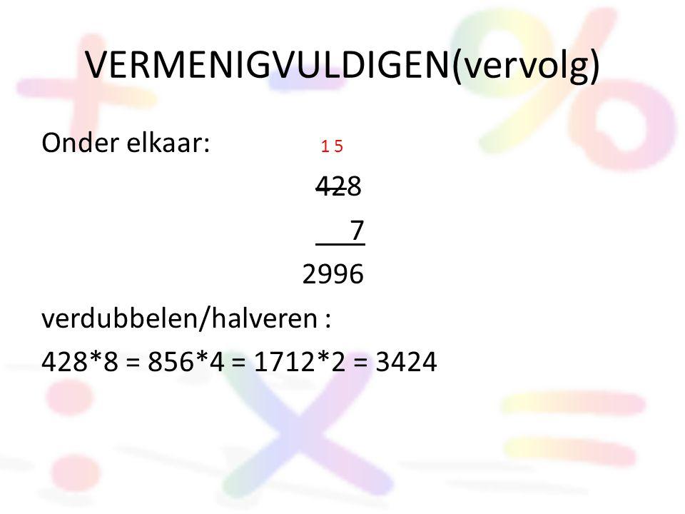 VERMENIGVULDIGEN(vervolg) Onder elkaar: 1 5 428 7 2996 verdubbelen/halveren : 428*8 = 856*4 = 1712*2 = 3424