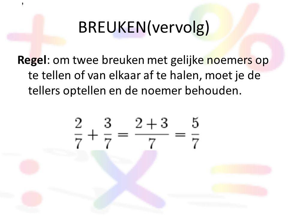 BREUKEN(vervolg) Regel: om twee breuken met gelijke noemers op te tellen of van elkaar af te halen, moet je de tellers optellen en de noemer behouden.