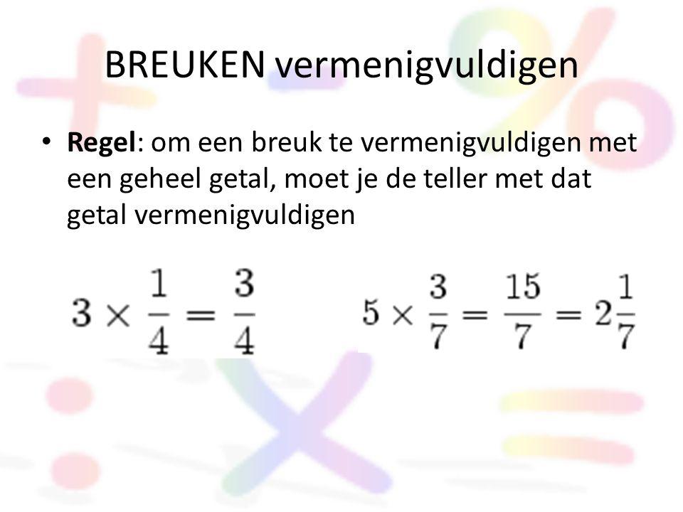 BREUKEN vermenigvuldigen • Regel: om een breuk te vermenigvuldigen met een geheel getal, moet je de teller met dat getal vermenigvuldigen
