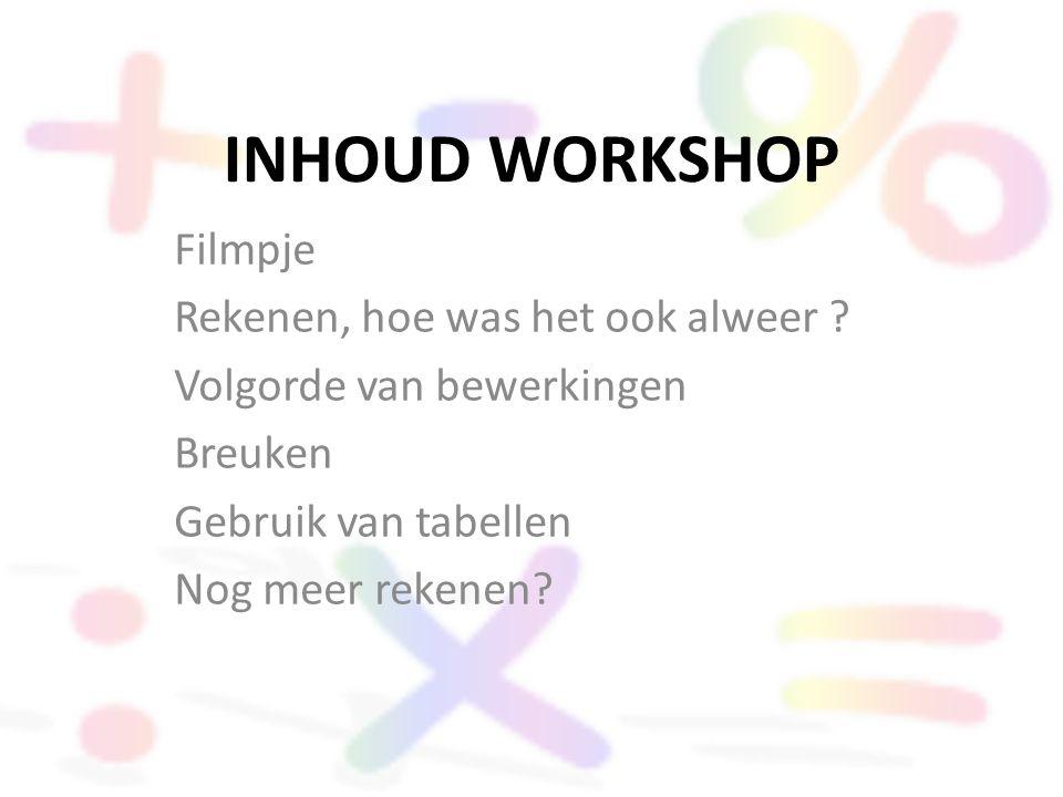 INHOUD WORKSHOP Filmpje Rekenen, hoe was het ook alweer ? Volgorde van bewerkingen Breuken Gebruik van tabellen Nog meer rekenen?