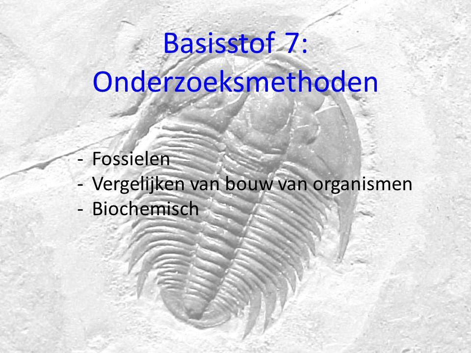 Basisstof 7: Onderzoeksmethoden -Fossielen -Vergelijken van bouw van organismen -Biochemisch