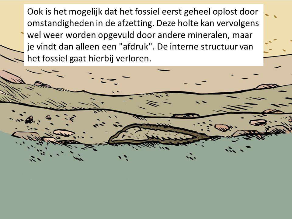 Ook is het mogelijk dat het fossiel eerst geheel oplost door omstandigheden in de afzetting. Deze holte kan vervolgens wel weer worden opgevuld door a