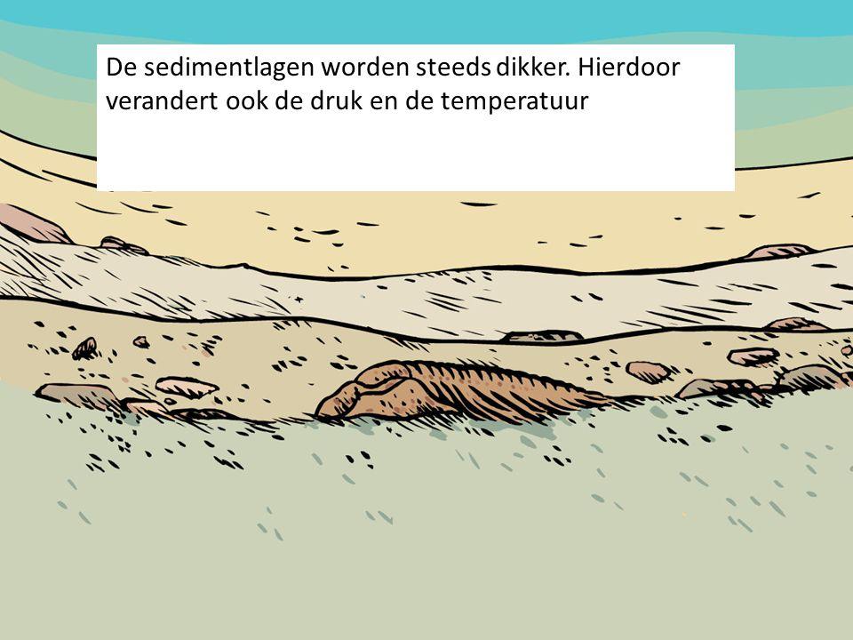 De sedimentlagen worden steeds dikker. Hierdoor verandert ook de druk en de temperatuur