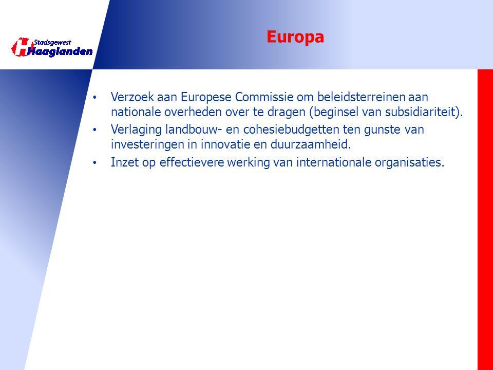 Europa • Verzoek aan Europese Commissie om beleidsterreinen aan nationale overheden over te dragen (beginsel van subsidiariteit). • Verlaging landbouw