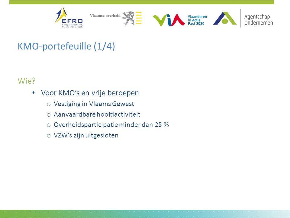 KMO-portefeuille (1/4) Wie? • Voor KMO's en vrije beroepen o Vestiging in Vlaams Gewest o Aanvaardbare hoofdactiviteit o Overheidsparticipatie minder