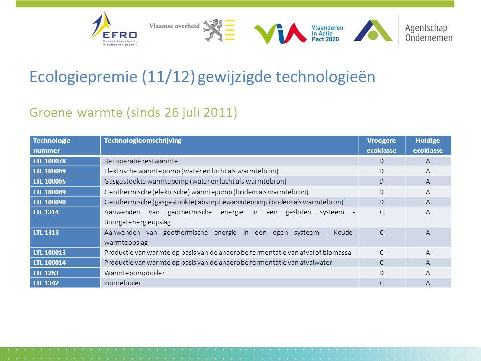 Ecologiepremie (11/12) gewijzigde technologieën Groene warmte (sinds 26 juli 2011) Technologie- nummer Technologieomschrijving Vroegere ecoklasse Huid