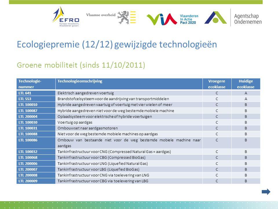 Ecologiepremie (12/12) gewijzigde technologieën Groene mobiliteit (sinds 11/10/2011) Technologie- nummer Technologieomschrijving Vroegere ecoklasse Hu