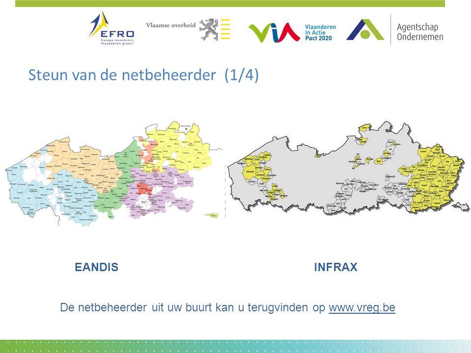 Steun van de netbeheerder (1/4) EANDIS INFRAX De netbeheerder uit uw buurt kan u terugvinden op www.vreg.be