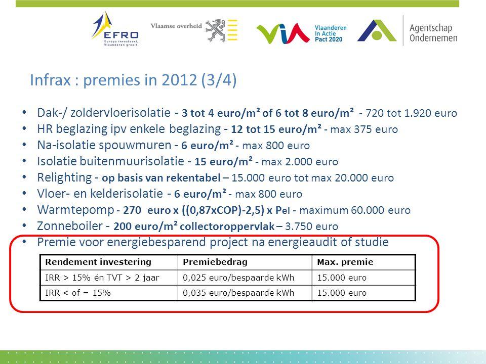 Infrax : premies in 2012 (3/4) • Dak-/ zoldervloerisolatie - 3 tot 4 euro/m² of 6 tot 8 euro/m² - 720 tot 1.920 euro • HR beglazing ipv enkele beglazi