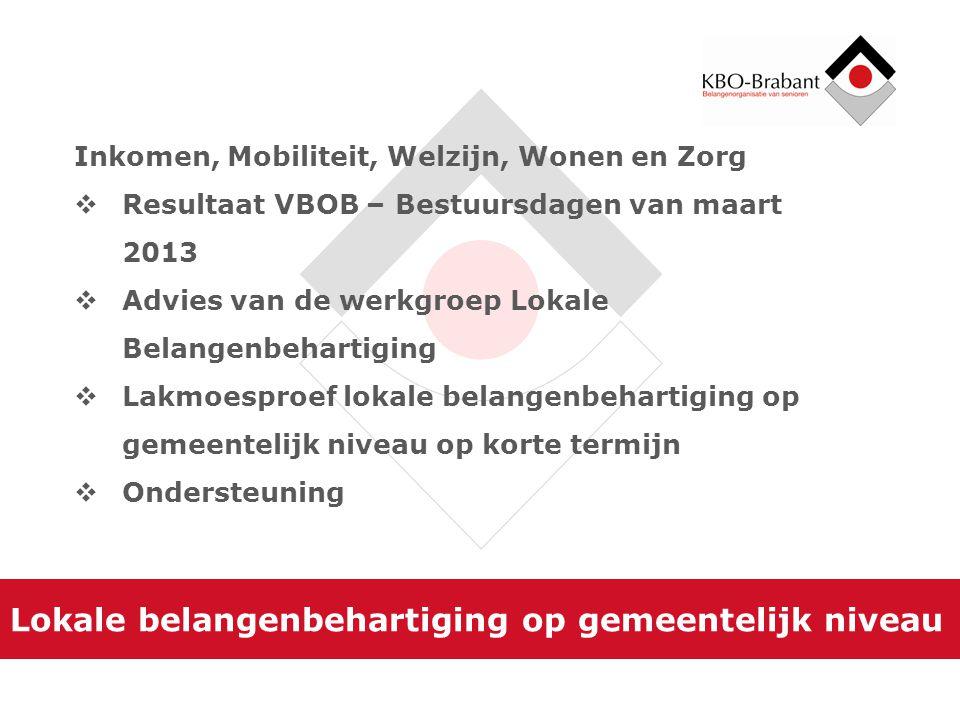 Lokale belangenbehartiging op gemeentelijk niveau Inkomen, Mobiliteit, Welzijn, Wonen en Zorg  Resultaat VBOB – Bestuursdagen van maart 2013  Advies