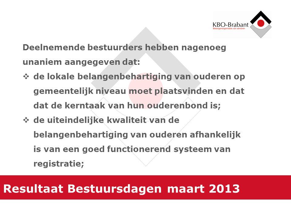 Resultaat Bestuursdagen maart 2013 Deelnemende bestuurders hebben nagenoeg unaniem aangegeven dat:  de lokale belangenbehartiging van ouderen op geme