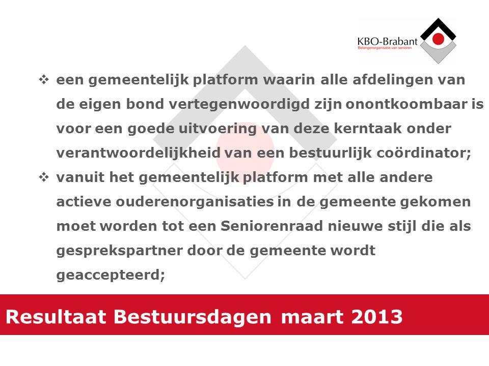 Resultaat Bestuursdagen maart 2013  een gemeentelijk platform waarin alle afdelingen van de eigen bond vertegenwoordigd zijn onontkoombaar is voor ee