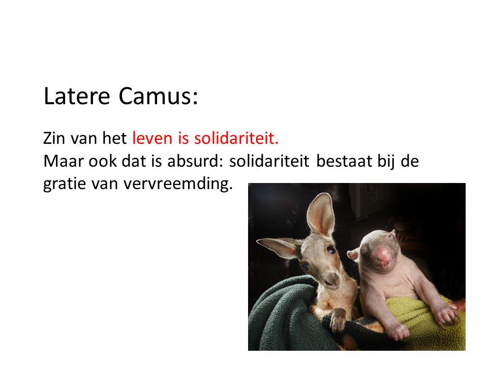 Latere Camus: Zin van het leven is solidariteit. Maar ook dat is absurd: solidariteit bestaat bij de gratie van vervreemding.