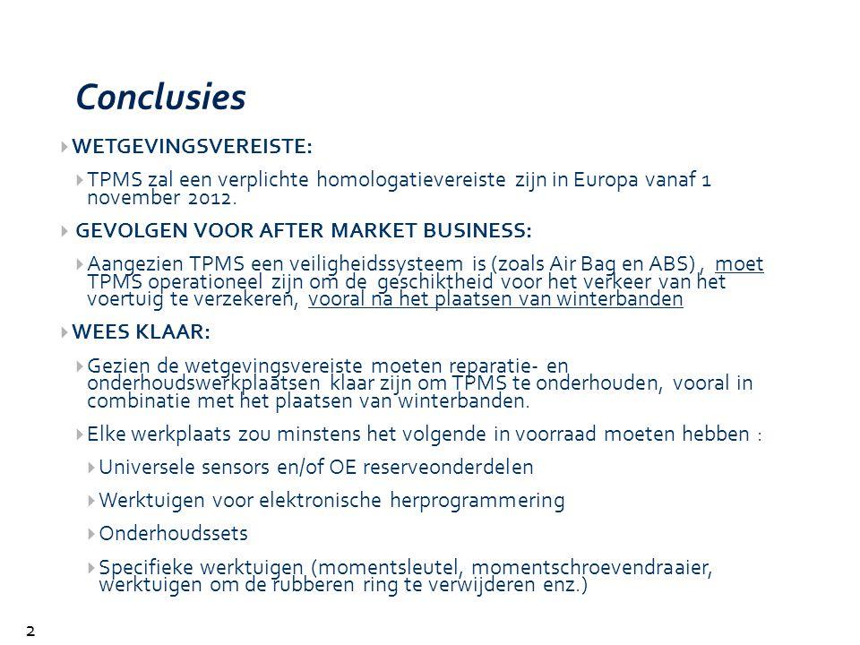 Conclusies 29  WETGEVINGSVEREISTE:  TPMS zal een verplichte homologatievereiste zijn in Europa vanaf 1 november 2012.  GEVOLGEN VOOR AFTER MARKET B