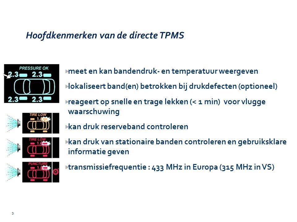 Hoofdkenmerken van de directe TPMS 3  meet en kan bandendruk- en temperatuur weergeven  lokaliseert band(en) betrokken bij drukdefecten (optioneel)