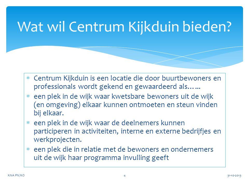  Centrum Kijkduin is een locatie die door buurtbewoners en professionals wordt gekend en gewaardeerd als…...  een plek in de wijk waar kwetsbare bew