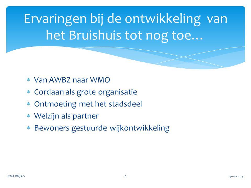  Van AWBZ naar WMO  Cordaan als grote organisatie  Ontmoeting met het stadsdeel  Welzijn als partner  Bewoners gestuurde wijkontwikkeling Ervarin