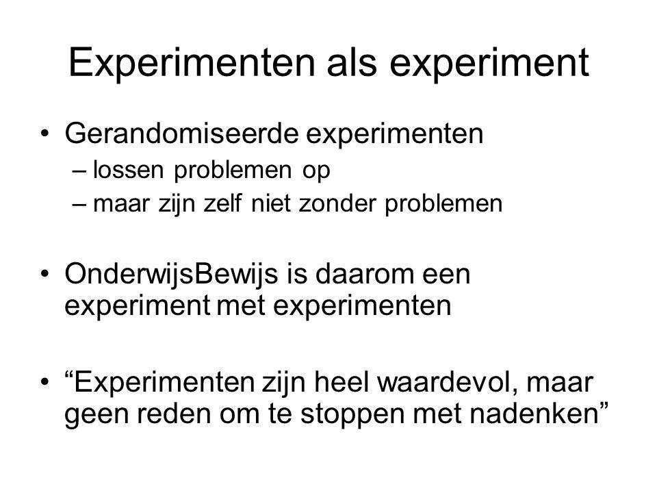 Experimenten als experiment •Gerandomiseerde experimenten –lossen problemen op –maar zijn zelf niet zonder problemen •OnderwijsBewijs is daarom een ex