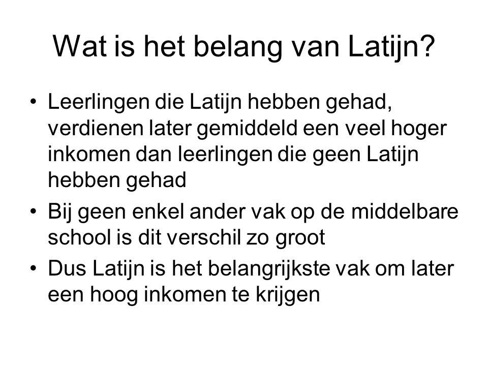 Wat is het belang van Latijn? •Leerlingen die Latijn hebben gehad, verdienen later gemiddeld een veel hoger inkomen dan leerlingen die geen Latijn heb