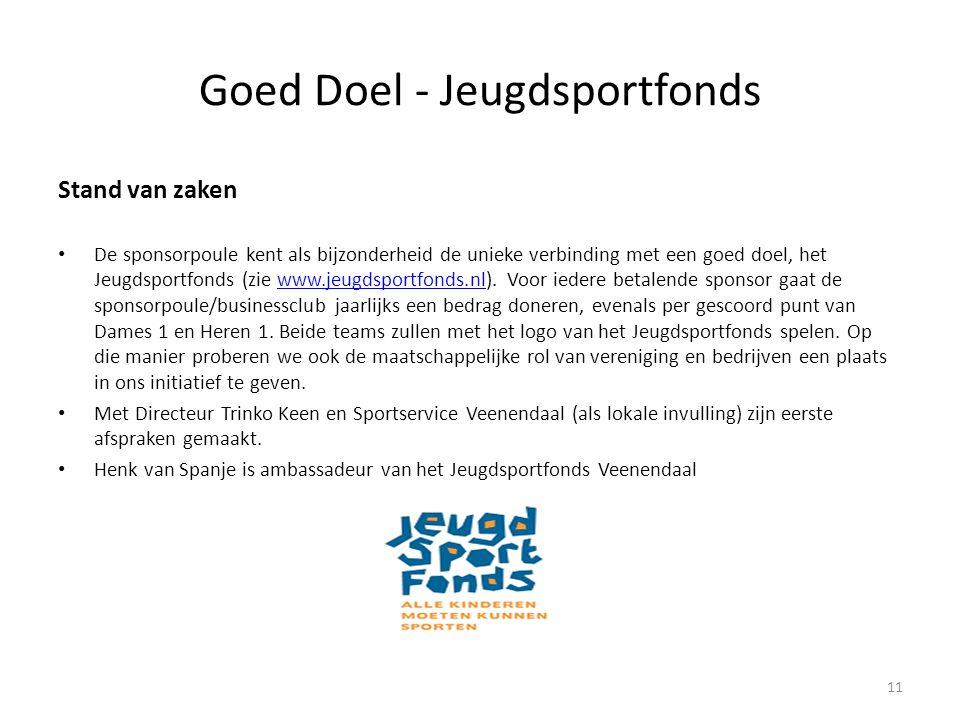 Goed Doel - Jeugdsportfonds 11 Stand van zaken • De sponsorpoule kent als bijzonderheid de unieke verbinding met een goed doel, het Jeugdsportfonds (z
