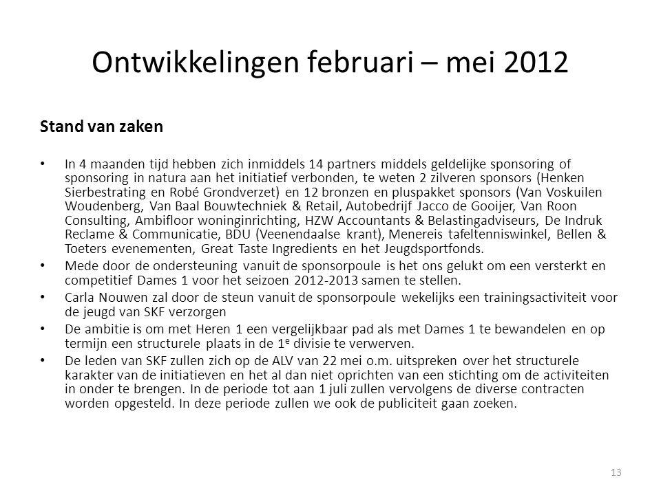 Ontwikkelingen februari – mei 2012 Stand van zaken • In 4 maanden tijd hebben zich inmiddels 14 partners middels geldelijke sponsoring of sponsoring i