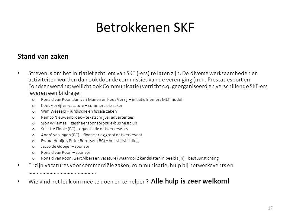 Betrokkenen SKF Stand van zaken • Streven is om het initiatief echt iets van SKF (-ers) te laten zijn. De diverse werkzaamheden en activiteiten worden