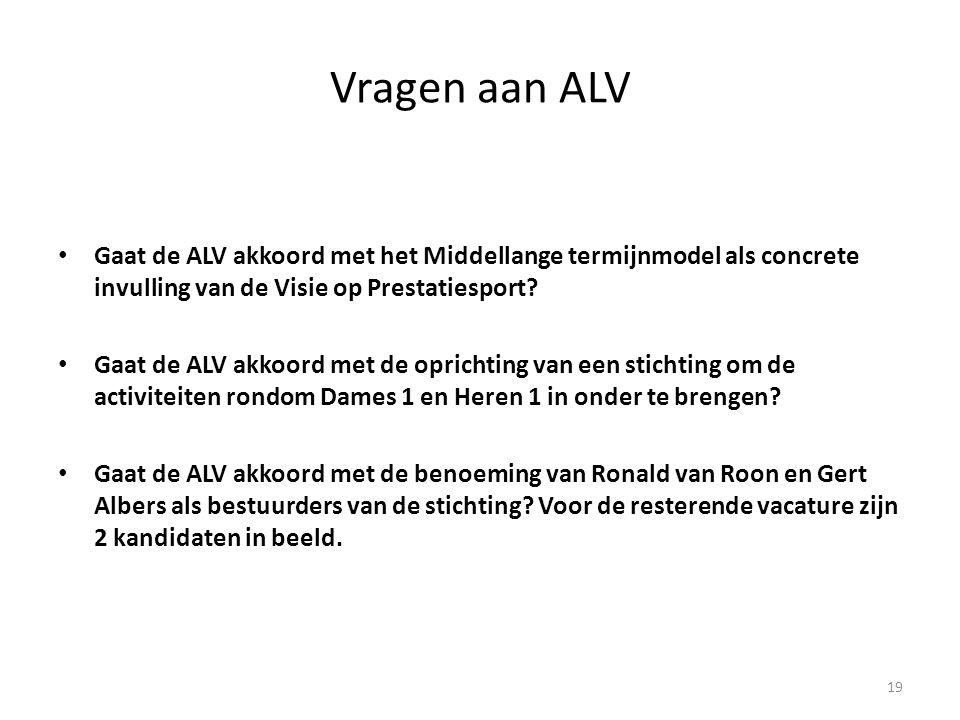 Vragen aan ALV • Gaat de ALV akkoord met het Middellange termijnmodel als concrete invulling van de Visie op Prestatiesport? • Gaat de ALV akkoord met