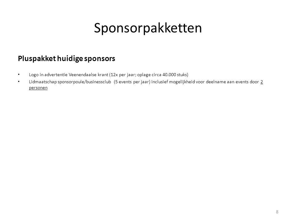 Sponsorpakketten Pluspakket huidige sponsors • Logo in advertentie Veenendaalse krant (12x per jaar; oplage circa 40.000 stuks) • Lidmaatschap sponsor
