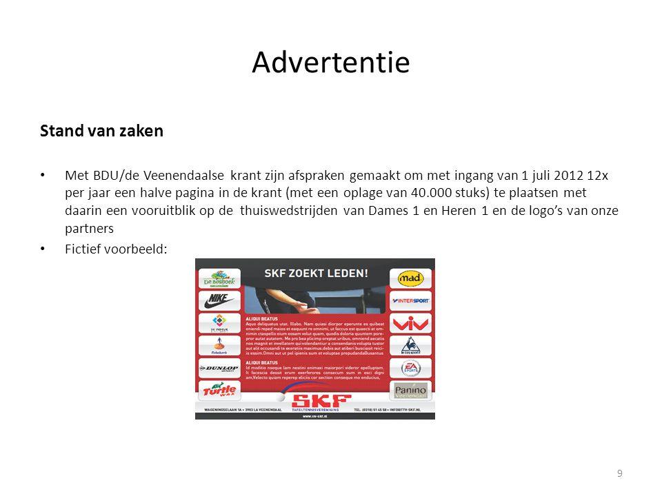 Advertentie Stand van zaken • Met BDU/de Veenendaalse krant zijn afspraken gemaakt om met ingang van 1 juli 2012 12x per jaar een halve pagina in de k