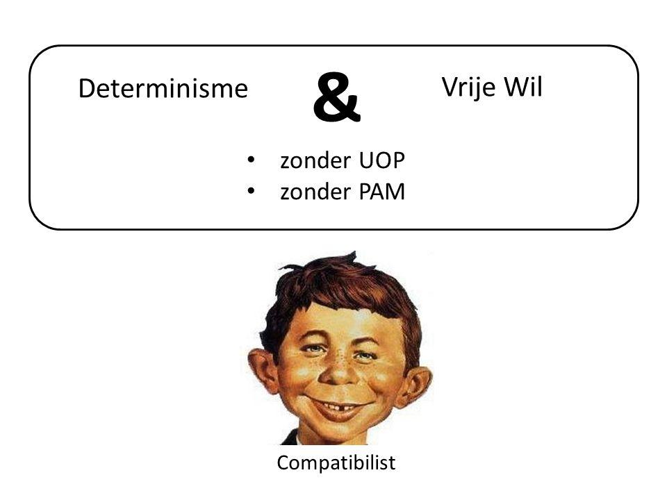 • Compatibilist • Zonder Principe Alternatieve Mogelijkheden (je kunt uit vrije wil handelen, terwijl je toch geen alternatieven had)