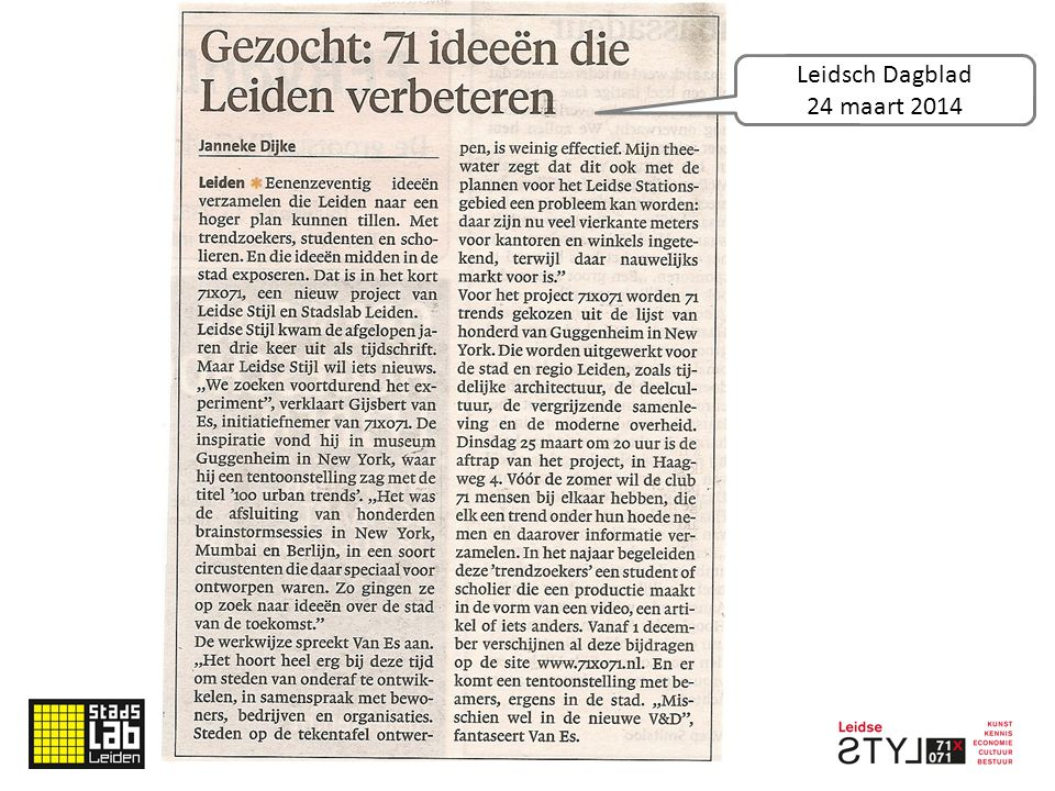 Leidsch Dagblad 24 maart 2014