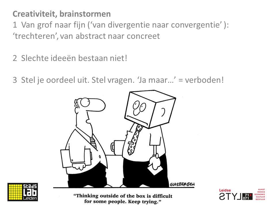 Creativiteit, brainstormen 1 Van grof naar fijn ('van divergentie naar convergentie' ): 'trechteren', van abstract naar concreet 2 Slechte ideeën bestaan niet.
