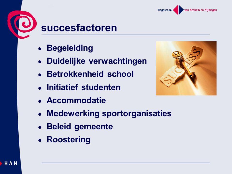 succesfactoren  Begeleiding  Duidelijke verwachtingen  Betrokkenheid school  Initiatief studenten  Accommodatie  Medewerking sportorganisaties 