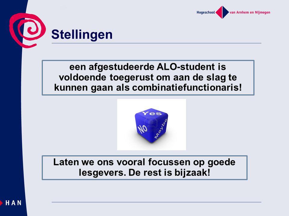 Stellingen een afgestudeerde ALO-student is voldoende toegerust om aan de slag te kunnen gaan als combinatiefunctionaris! Laten we ons vooral focussen