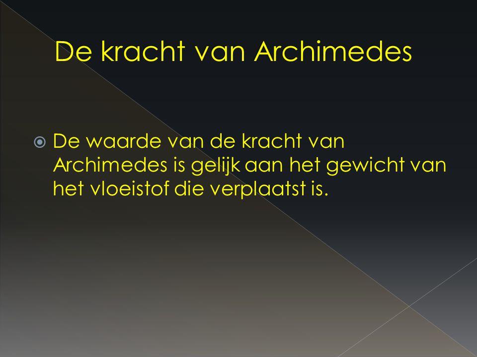  De waarde van de kracht van Archimedes is gelijk aan het gewicht van het vloeistof die verplaatst is.