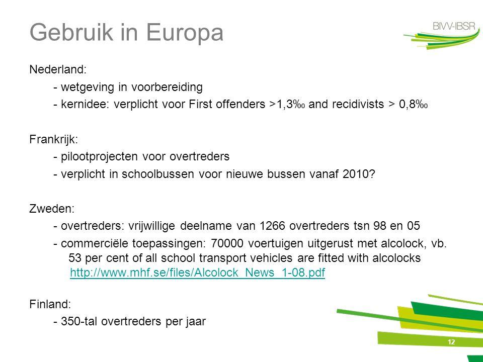 12 Gebruik in Europa Nederland: - wetgeving in voorbereiding - kernidee: verplicht voor First offenders >1,3‰ and recidivists > 0,8‰ Frankrijk: - pilo
