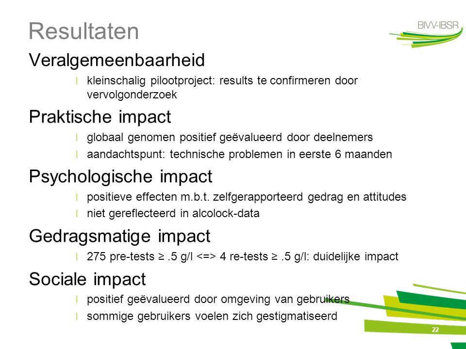 22 Resultaten Veralgemeenbaarheid ׀kleinschalig pilootproject: results te confirmeren door vervolgonderzoek Praktische impact ׀globaal genomen positie