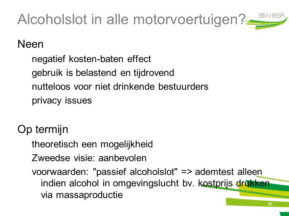 25 Alcoholslot in alle motorvoertuigen? Neen negatief kosten-baten effect gebruik is belastend en tijdrovend nutteloos voor niet drinkende bestuurders