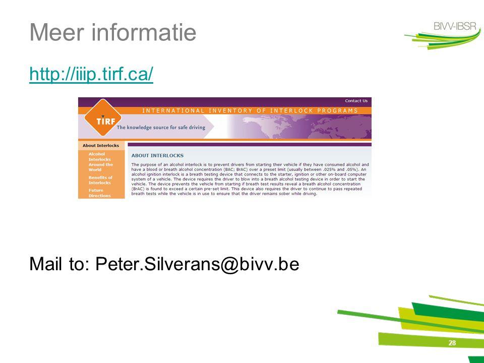 28 Meer informatie http://iiip.tirf.ca/ Mail to: Peter.Silverans@bivv.be